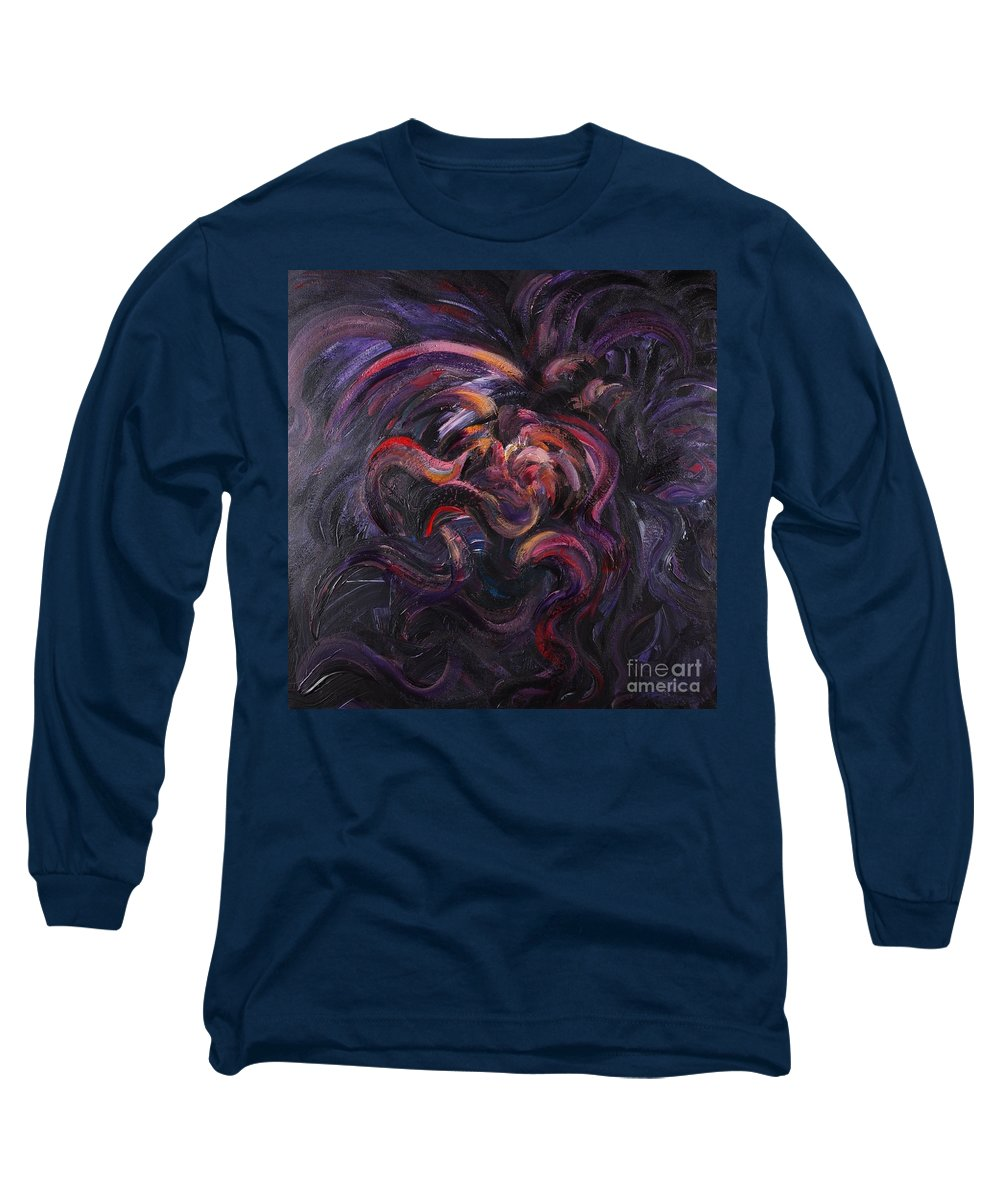 Purple Long Sleeve T-Shirt featuring the painting Purple Passion by Nadine Rippelmeyer