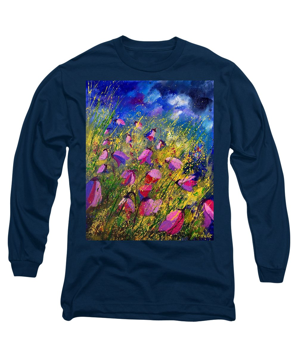 Poppies Long Sleeve T-Shirt featuring the painting Purple Wild Flowers by Pol Ledent