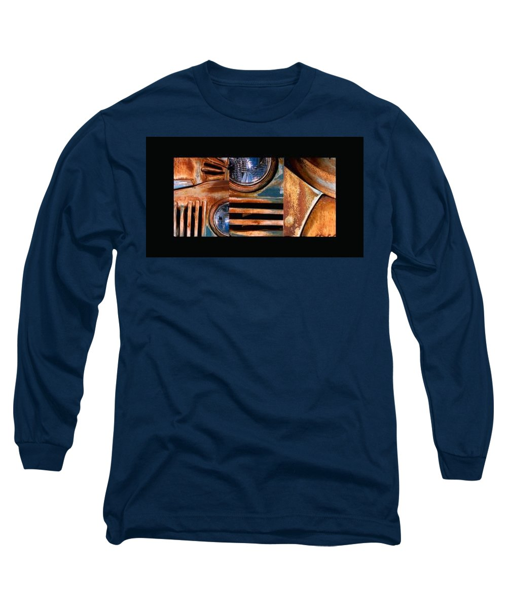 Abstract Photo Of Chevy Truck Long Sleeve T-Shirt featuring the photograph Red Head On by Steve Karol