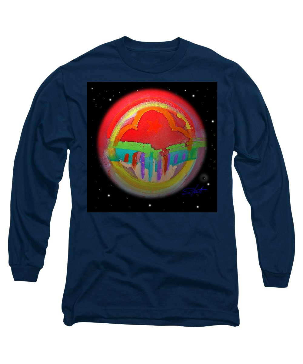 Landscape Long Sleeve T-Shirt featuring the painting Red Planet by Charles Stuart
