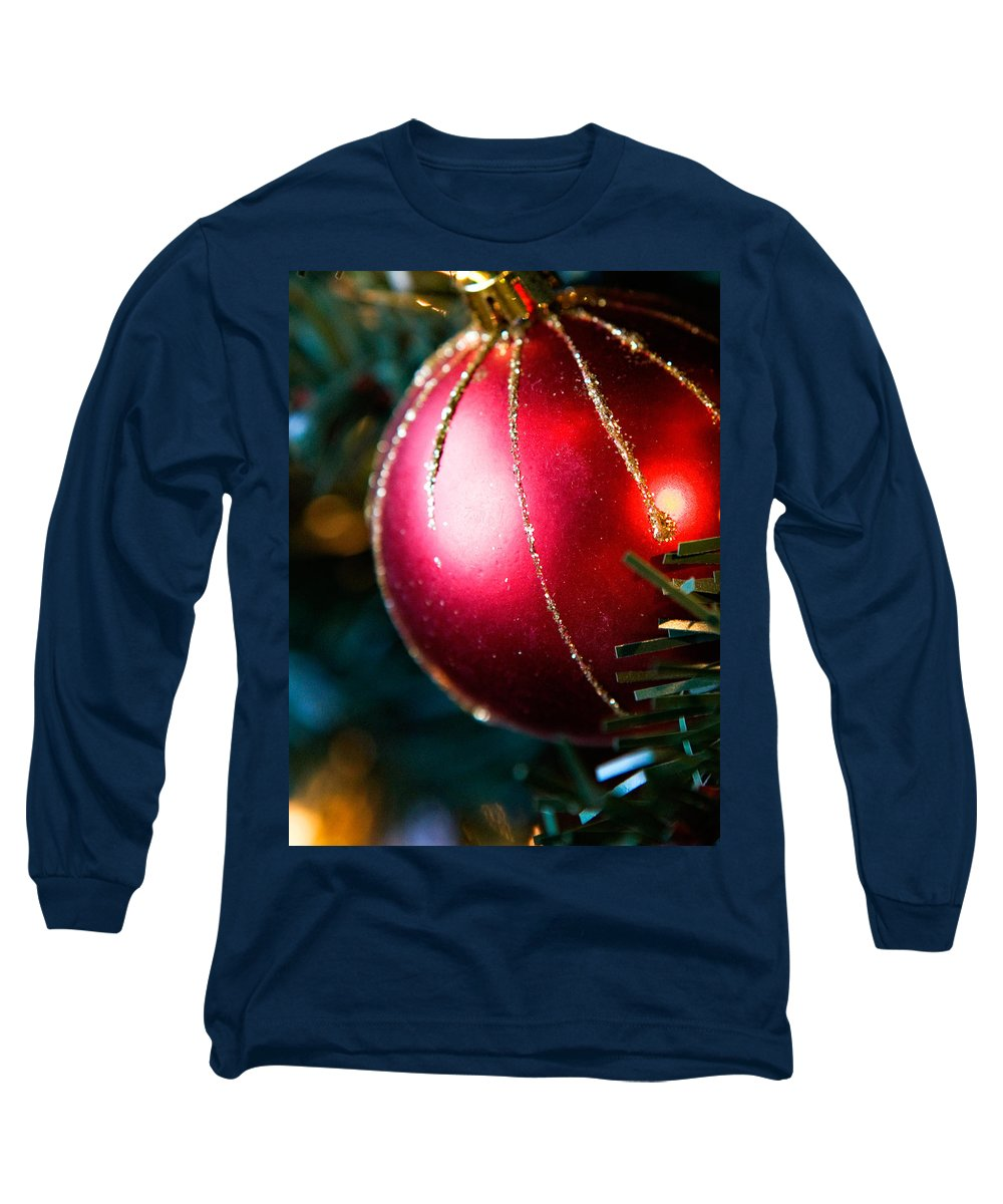 Red Long Sleeve T-Shirt featuring the photograph Red Shiny Ornament by Marilyn Hunt