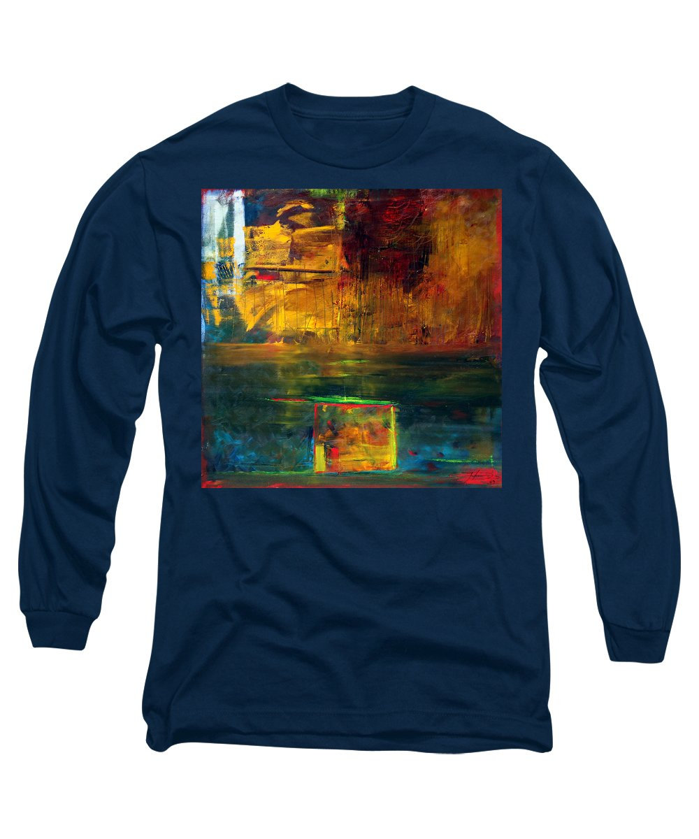 New York City Reflection Red Yellow Blue Green Long Sleeve T-Shirt featuring the painting Reflections Of New York by Jack Diamond