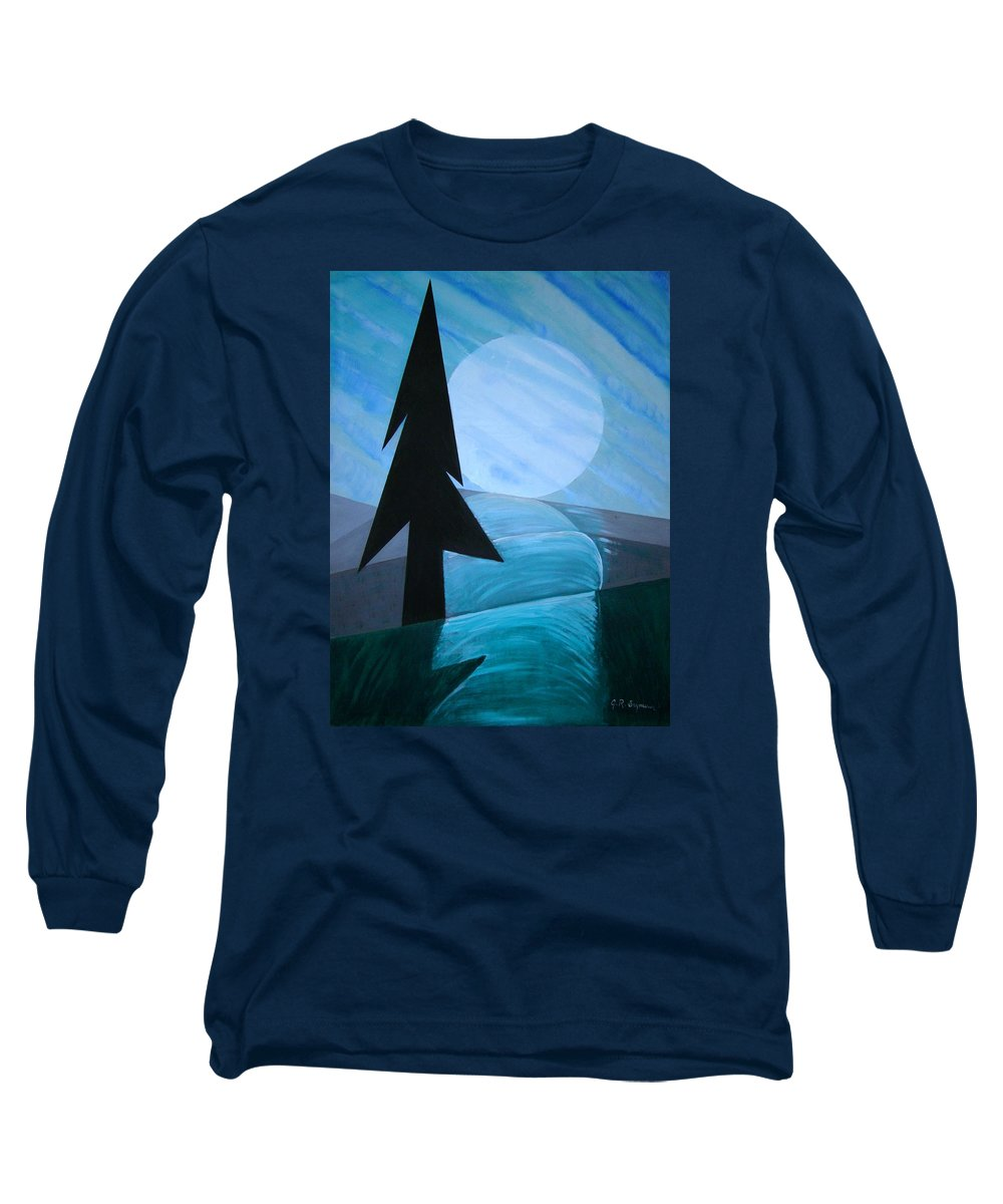 Phases Of The Moon Long Sleeve T-Shirt featuring the painting Reflections On The Day by J R Seymour