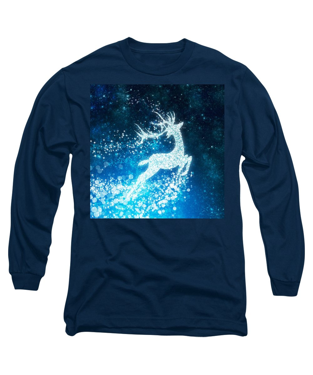 Animal Long Sleeve T-Shirt featuring the photograph Reindeer Stars by Setsiri Silapasuwanchai