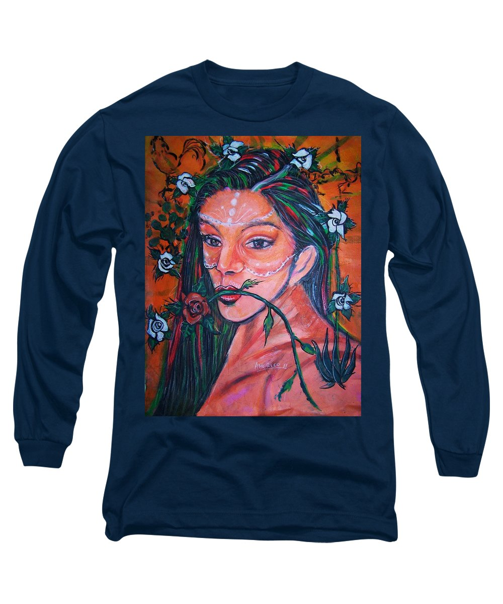 Latina Long Sleeve T-Shirt featuring the painting Rosales Latina by Americo Salazar