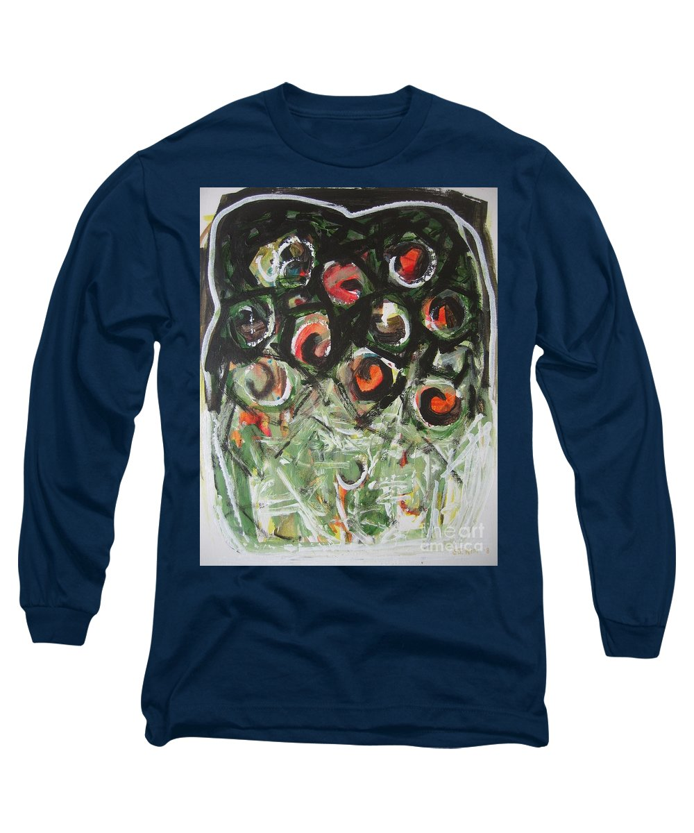 Abstract Painting Long Sleeve T-Shirt featuring the painting Roses by Seon-Jeong Kim