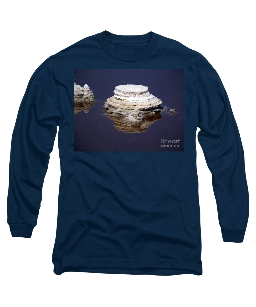 Salt; Formation Long Sleeve T-Shirt featuring the photograph salt cristal at the Dead Sea Israel by Avi Horovitz