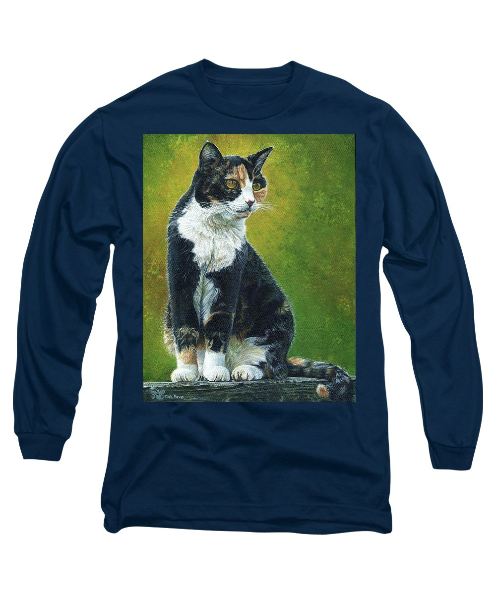 Sassy Long Sleeve T-Shirt featuring the painting Sassy by Cara Bevan
