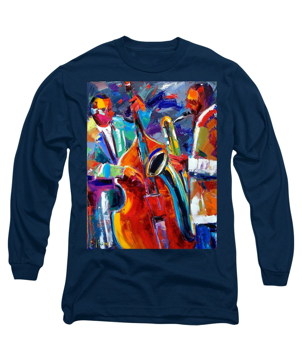 Jazz Painting Long Sleeve T-Shirt featuring the painting Sax And Bass by Debra Hurd