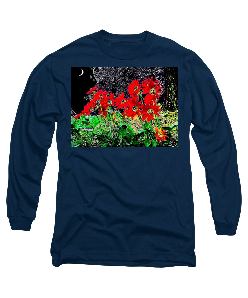 Abstract Long Sleeve T-Shirt featuring the digital art Scarlet Night by Will Borden