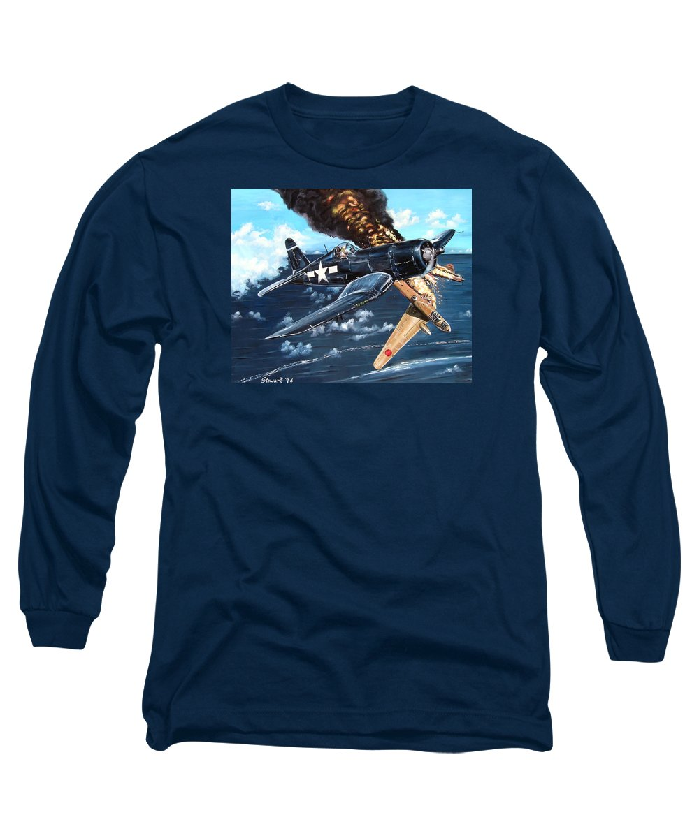 Military Long Sleeve T-Shirt featuring the painting Scratch One Betty by Marc Stewart