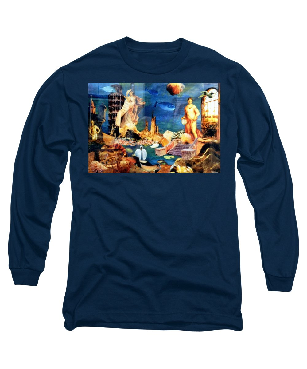 Fantasy Long Sleeve T-Shirt featuring the painting Sea Garden by Gail Kirtz