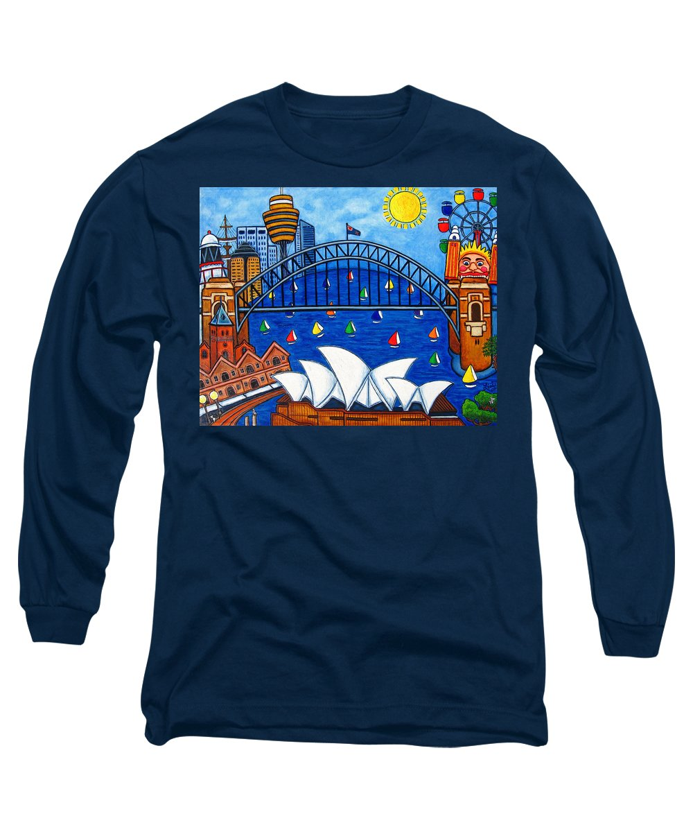 House Long Sleeve T-Shirt featuring the painting Sensational Sydney by Lisa Lorenz