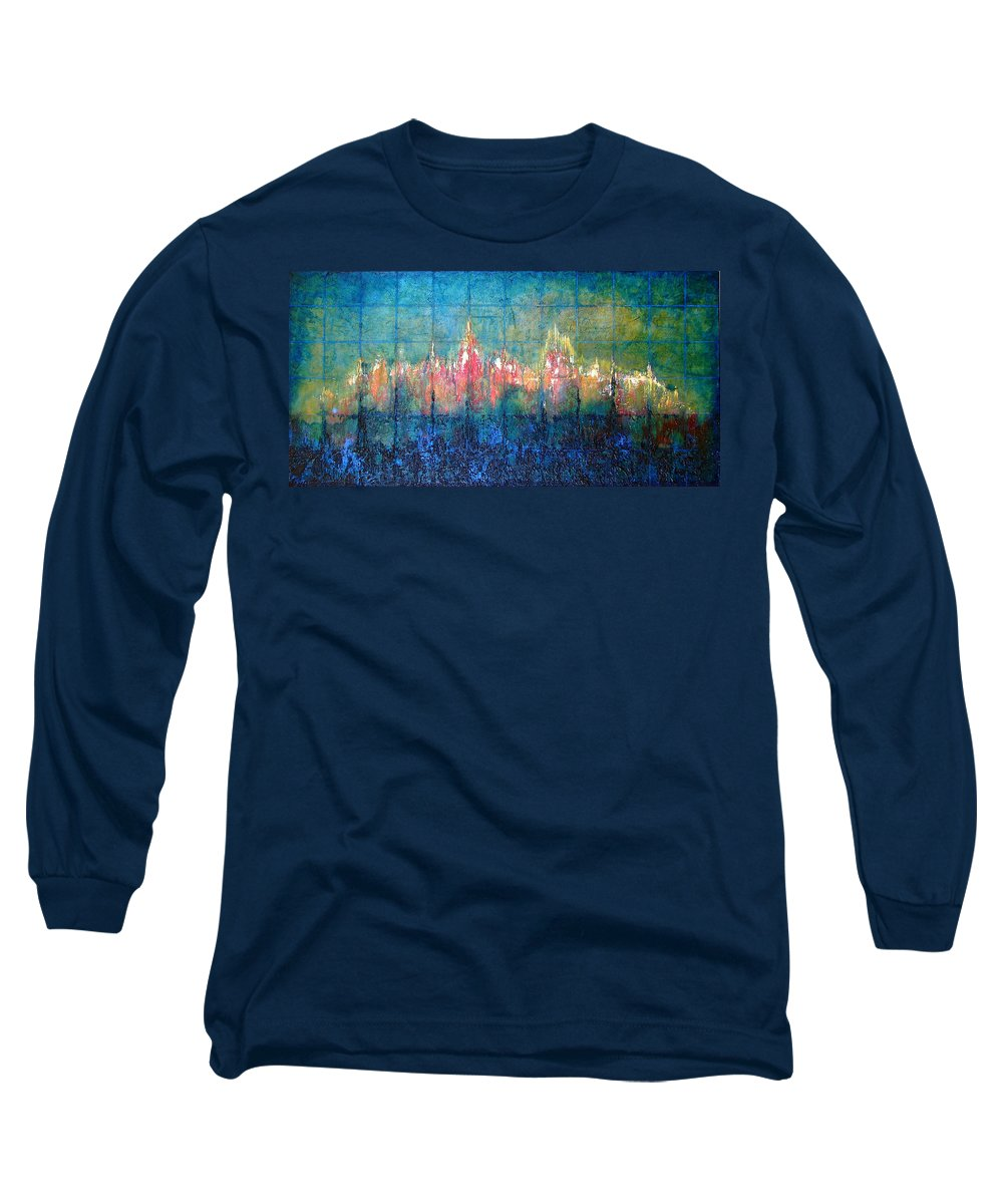 Seascape Long Sleeve T-Shirt featuring the painting Shorebound by Shadia Derbyshire