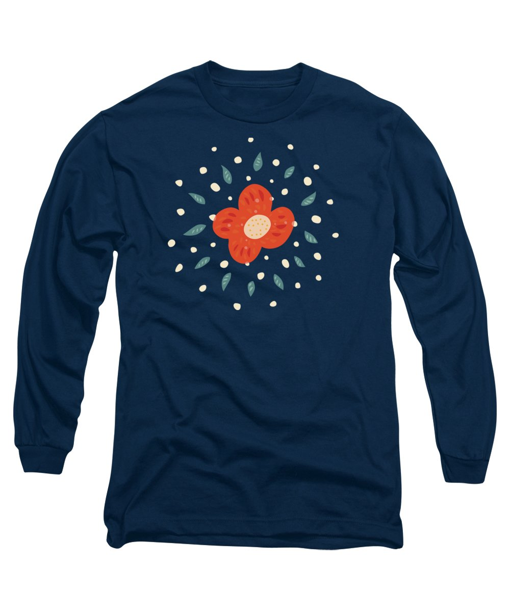 Simple Pretty Orange Flowers Pattern Long Sleeve T Shirt For Sale By