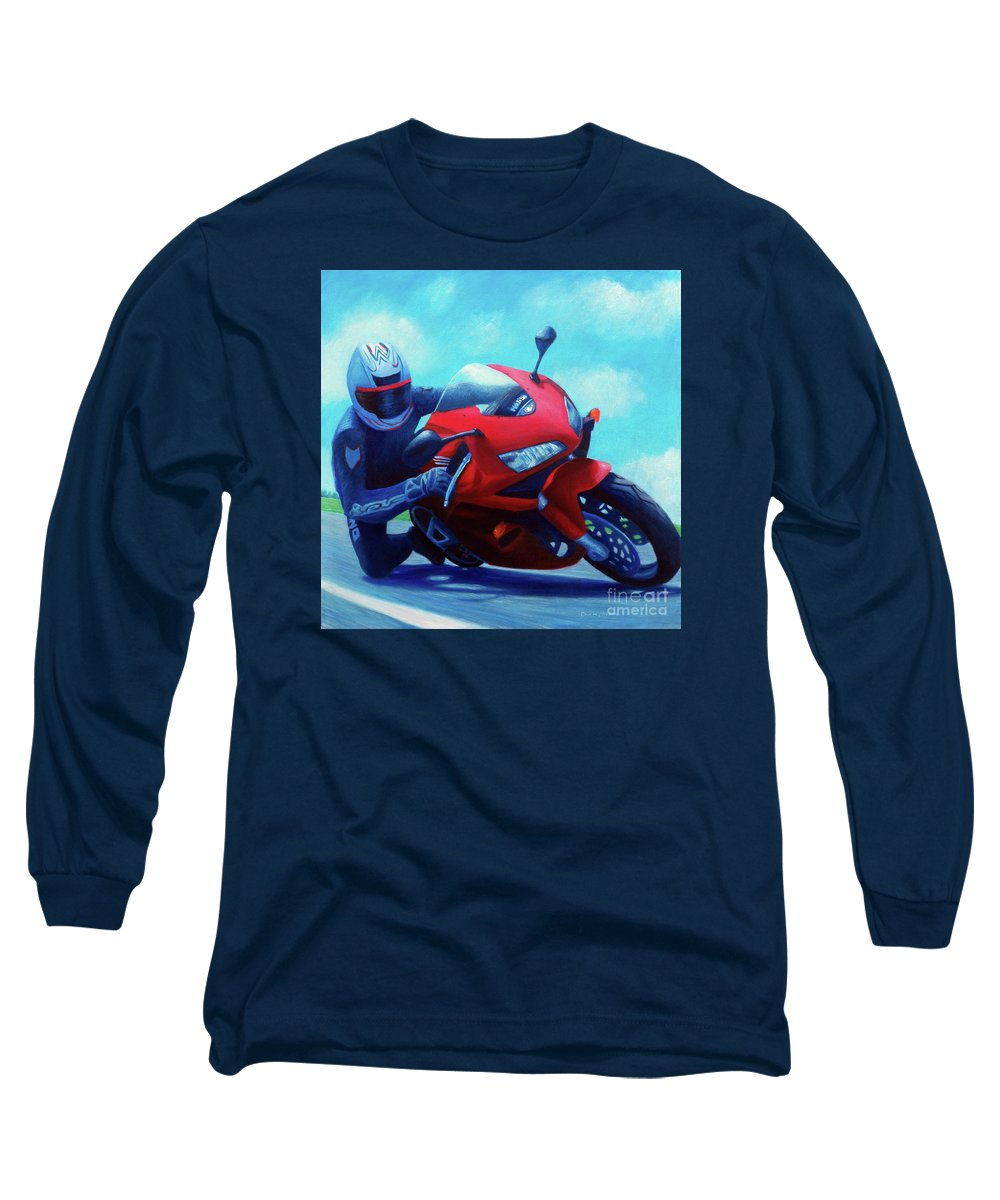 Motorcycle Long Sleeve T-Shirt featuring the painting Sky Pilot - Honda Cbr600 by Brian Commerford