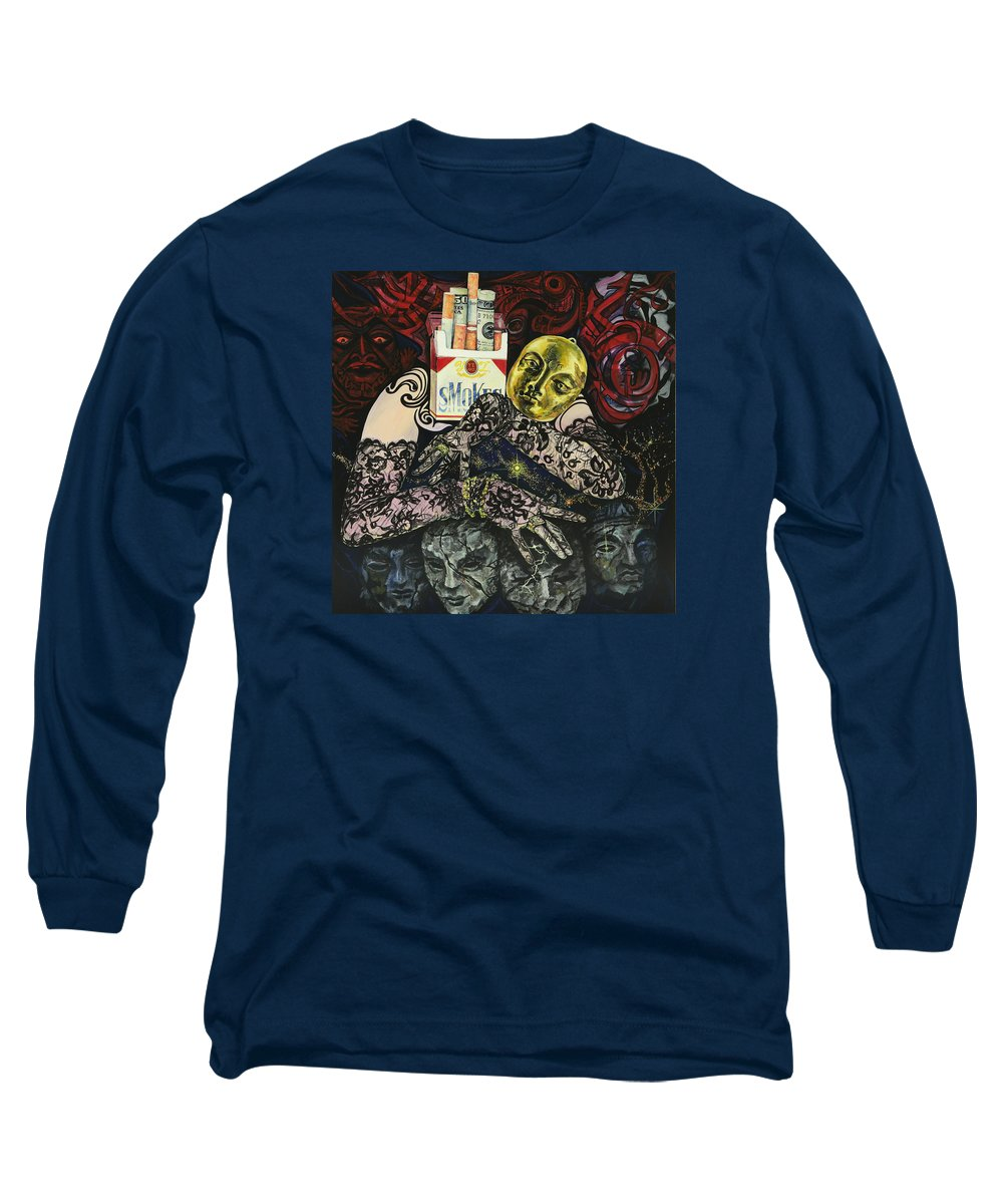 Surreal Long Sleeve T-Shirt featuring the painting Smoke And Lace by Yelena Tylkina