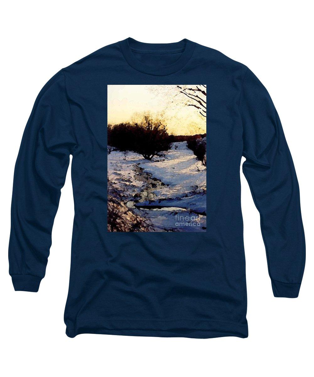 Winter Long Sleeve T-Shirt featuring the digital art Snowmelt by Mendy Pedersen