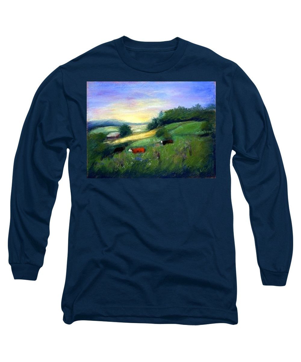 Landscape Long Sleeve T-Shirt featuring the painting Southern Ohio Farm by Gail Kirtz