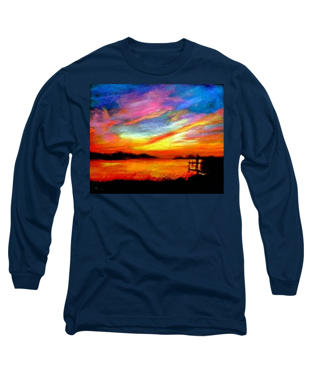 Sunset Long Sleeve T-Shirt featuring the painting Southern Sunset by Gail Kirtz