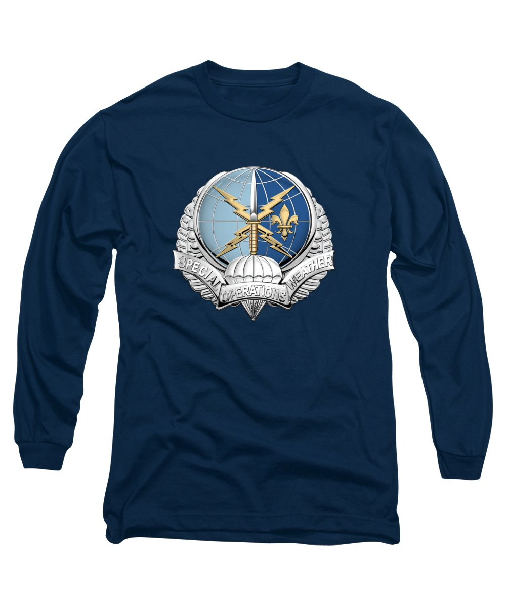'military Insignia & Heraldry' Collection By Serge Averbukh Long Sleeve T-Shirt featuring the digital art Special Operations Weather Team - S O W T Badge Over Blue Velvet by Serge Averbukh