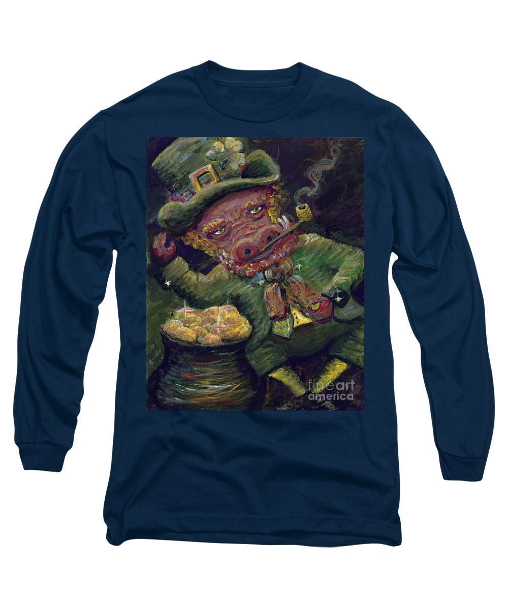 Hog Long Sleeve T-Shirt featuring the painting St.patricks Day Pig by Nadine Rippelmeyer
