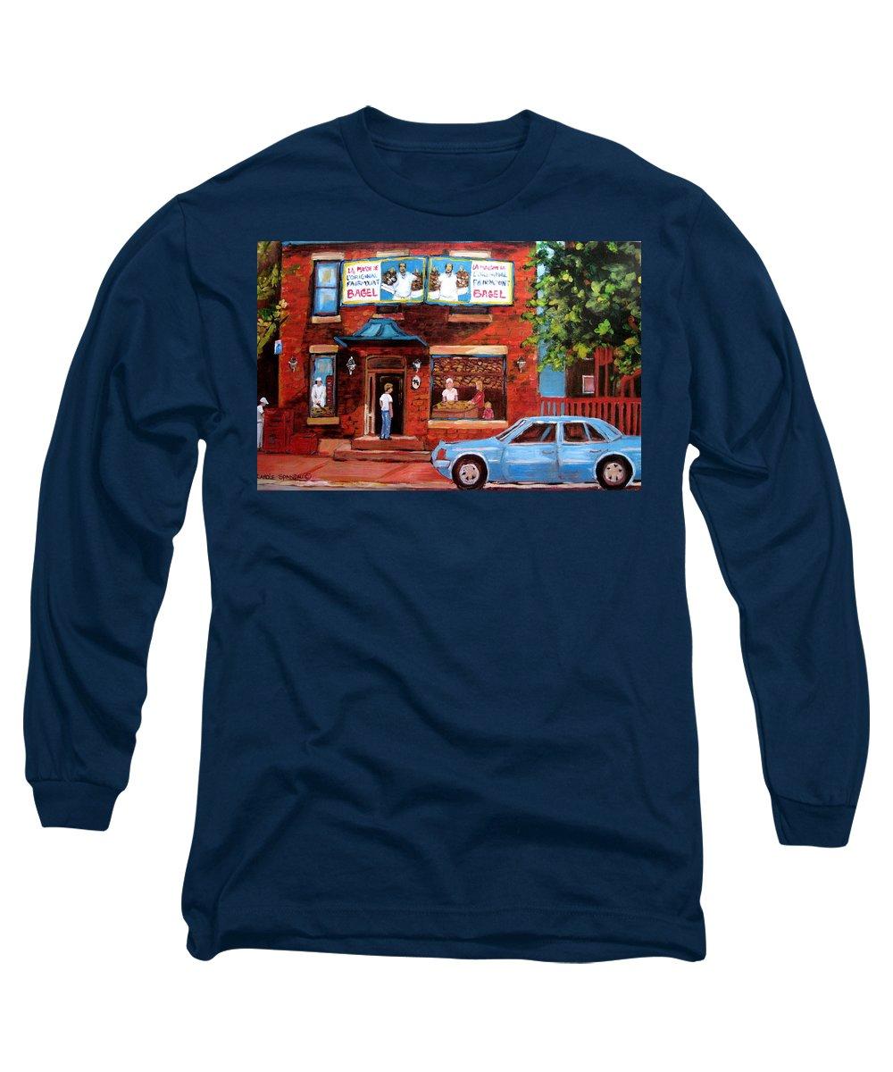 Fairmount Bagel Long Sleeve T-Shirt featuring the painting Summer At Fairmount by Carole Spandau