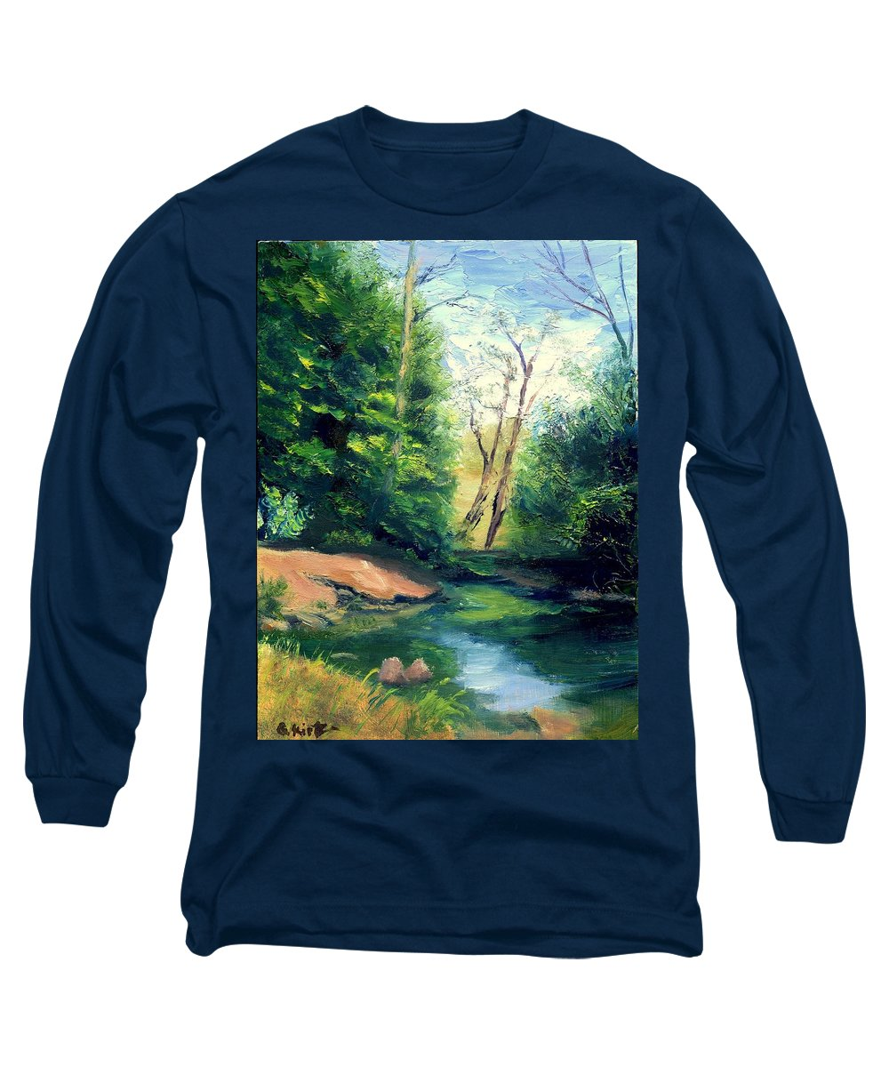 Landscape Long Sleeve T-Shirt featuring the painting Summer At Storm by Gail Kirtz