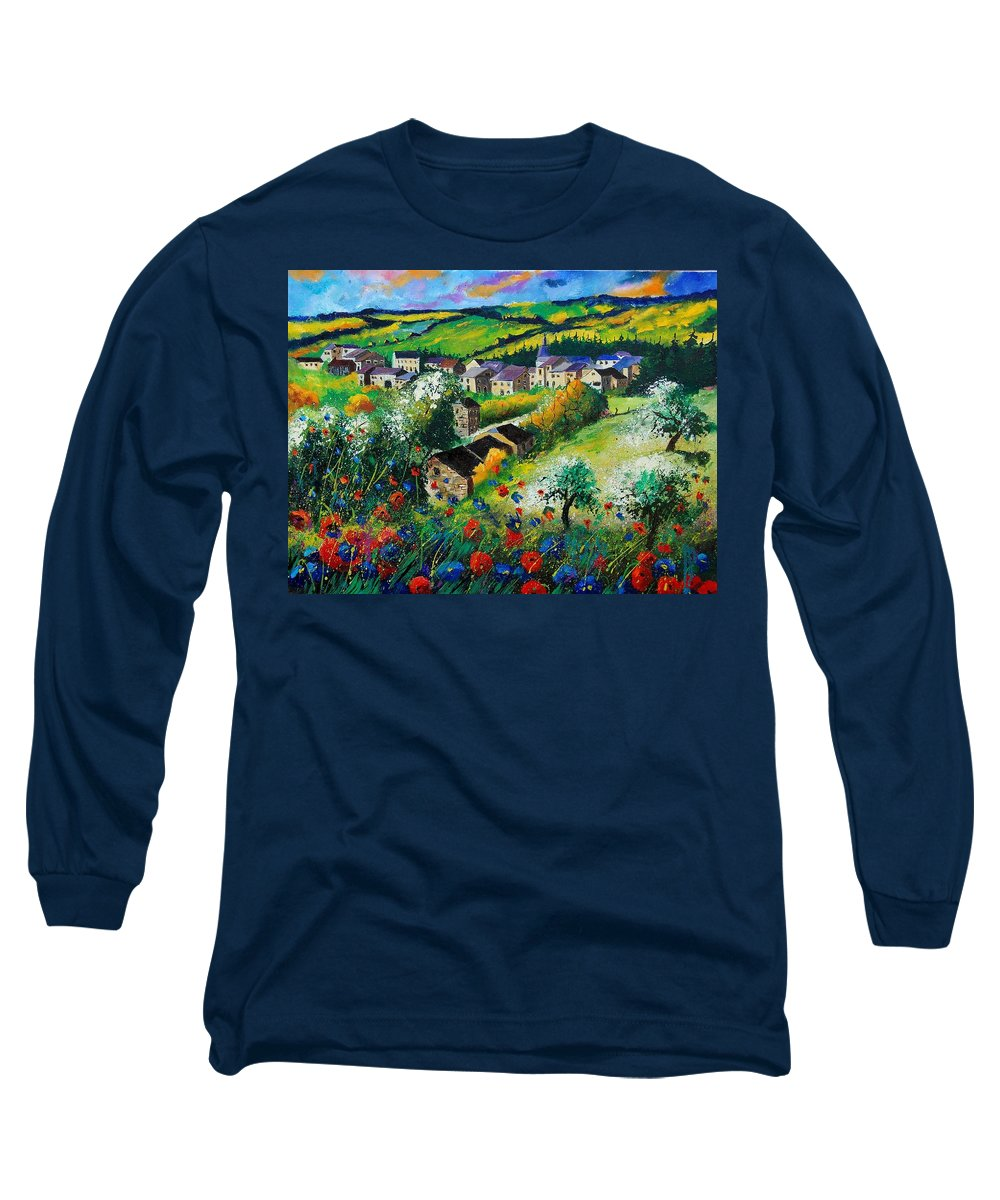 Poppies Long Sleeve T-Shirt featuring the painting Summer In Rochehaut by Pol Ledent
