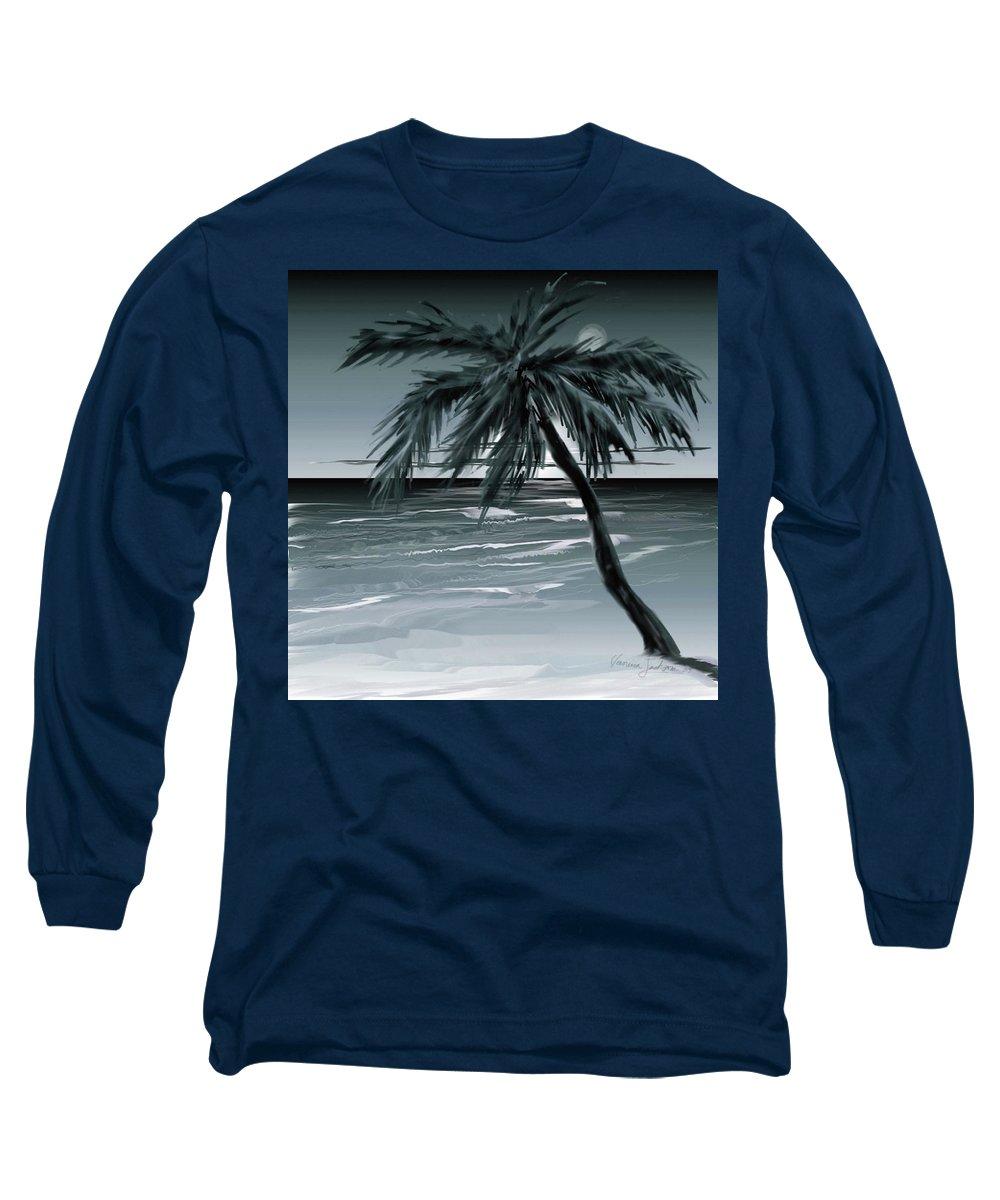 Water Beach Sea Ocean Palm Tree Summer Breeze Moonlight Sky Night Long Sleeve T-Shirt featuring the digital art Summer Night In Florida by Veronica Jackson