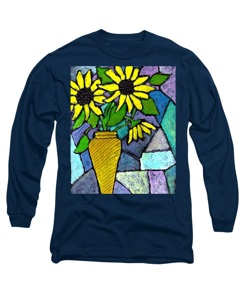 Flowers Long Sleeve T-Shirt featuring the painting Sunflowers In A Vase by Wayne Potrafka