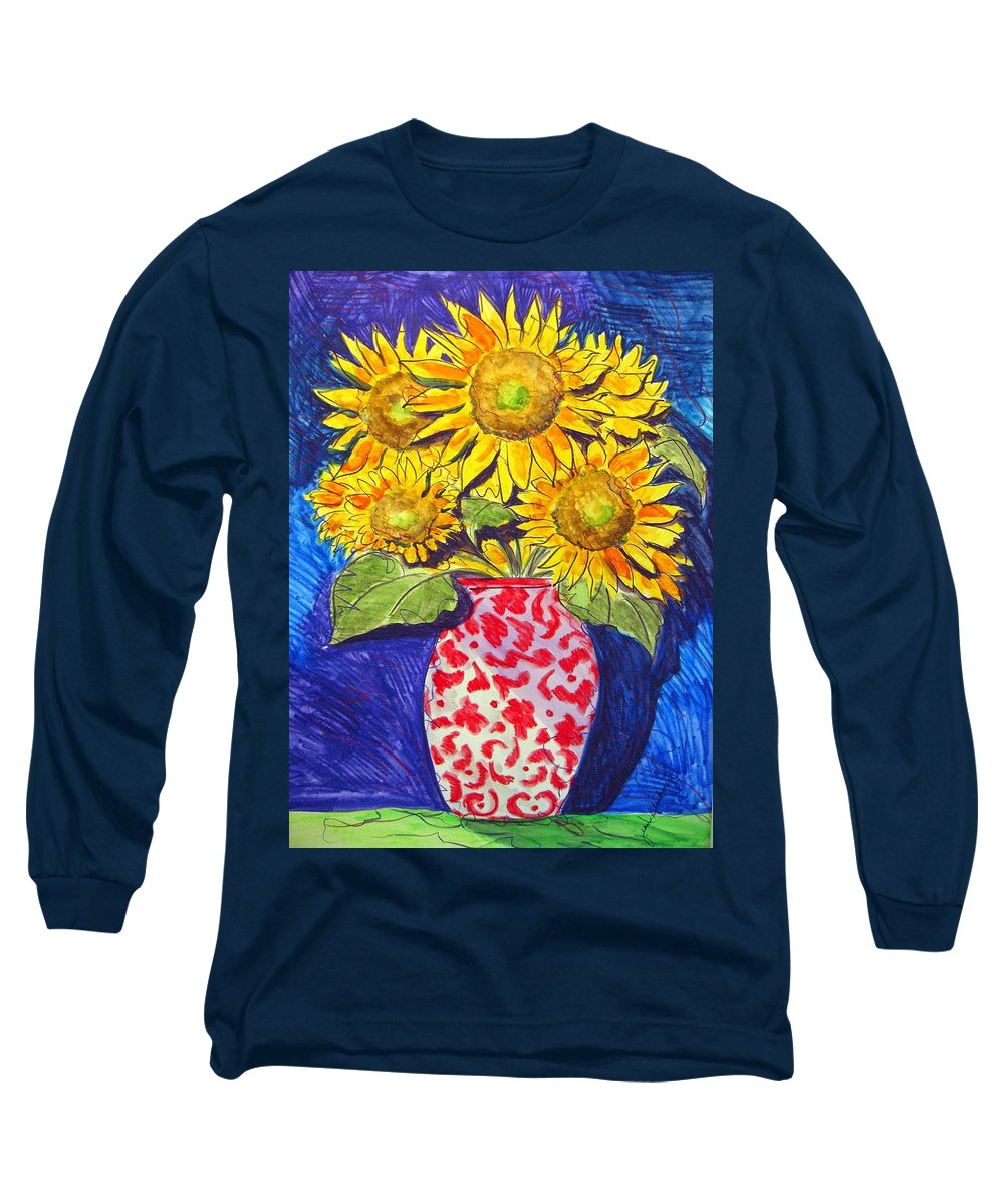 Sunflower Long Sleeve T-Shirt featuring the painting Sunny Disposition by Jean Blackmer