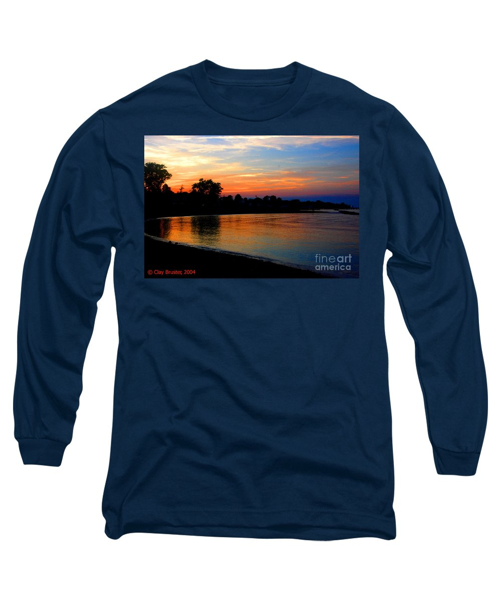 Clay Long Sleeve T-Shirt featuring the photograph Sunset At Colonial Beach Cove by Clayton Bruster