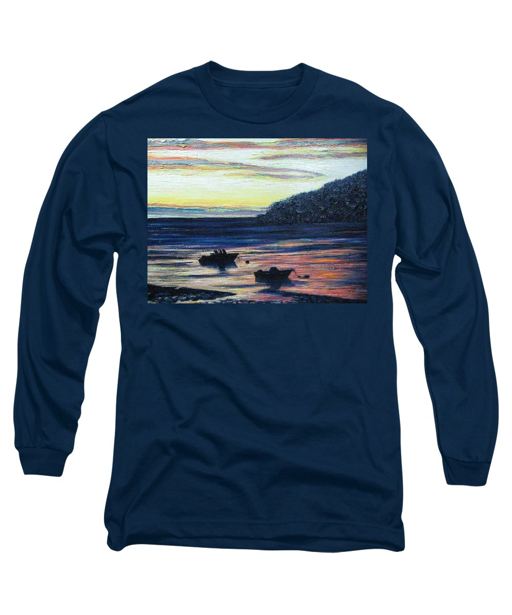 Maine Long Sleeve T-Shirt featuring the painting Sunset On Maine Coast by Richard Nowak