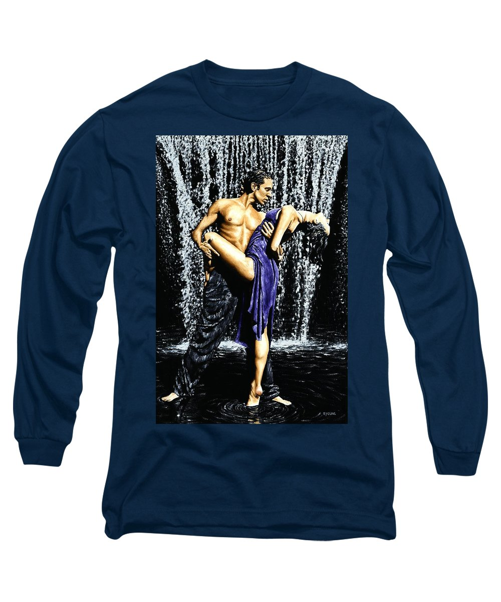 Tango Long Sleeve T-Shirt featuring the painting Tango Cascade by Richard Young