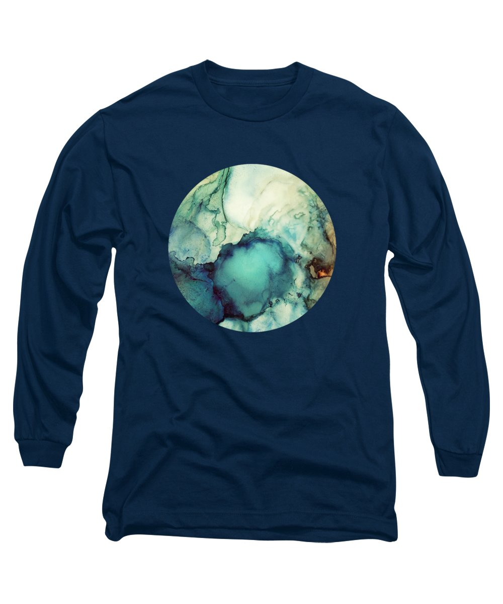 Teal Long Sleeve T-Shirt featuring the digital art Teal Abstract by Spacefrog Designs
