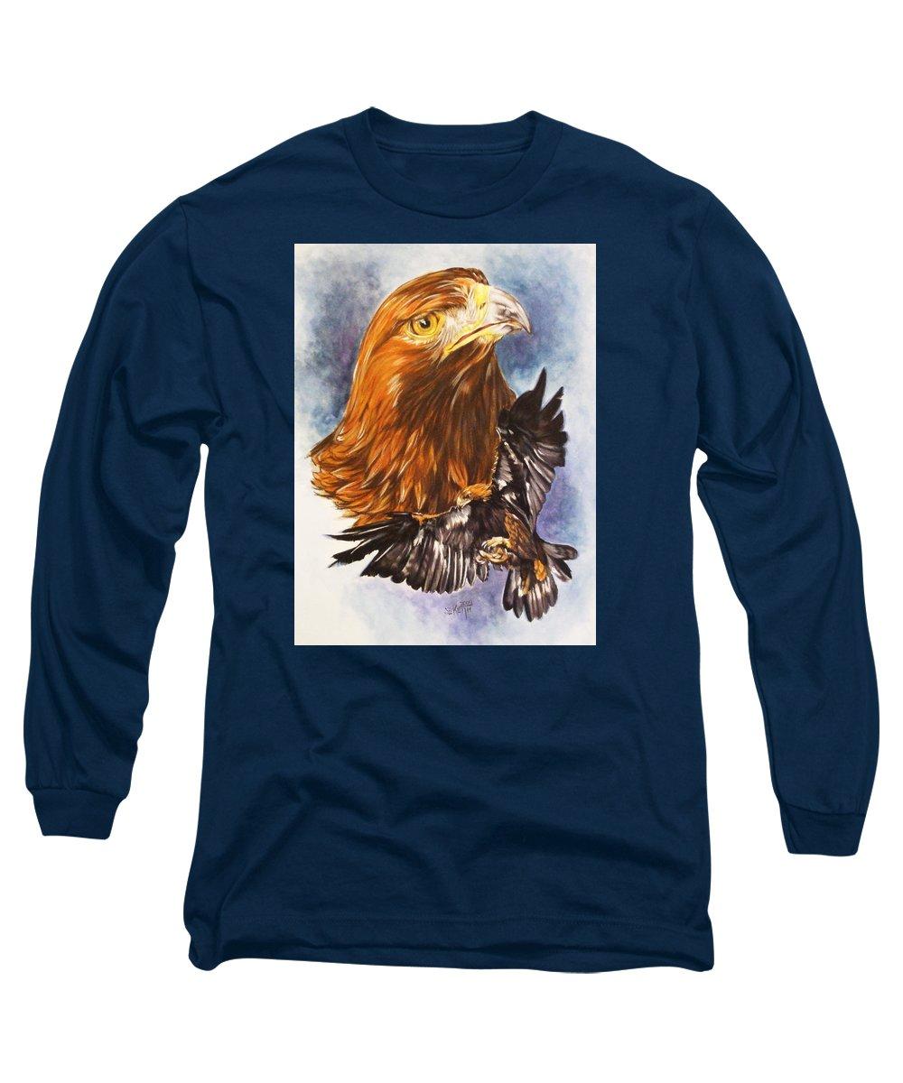 Eagle Long Sleeve T-Shirt featuring the mixed media Tenacity by Barbara Keith