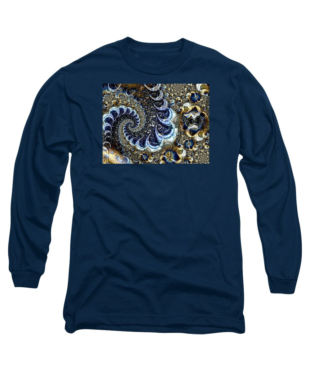 Fractal Diamonds Blue Jewel Dance River Long Sleeve T-Shirt featuring the digital art The Blue Diamonds by Veronica Jackson