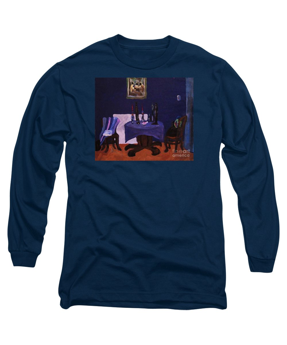 Talbe Chairs Dining Room Candles Blue Painting Long Sleeve T-Shirt featuring the painting The Dining Room by Reb Frost