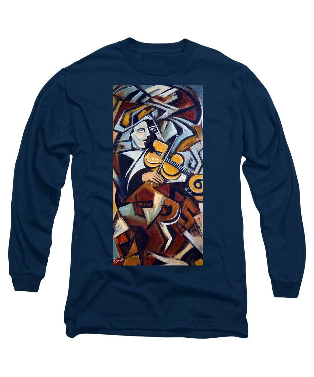 Musician Long Sleeve T-Shirt featuring the painting The Fiddler by Valerie Vescovi