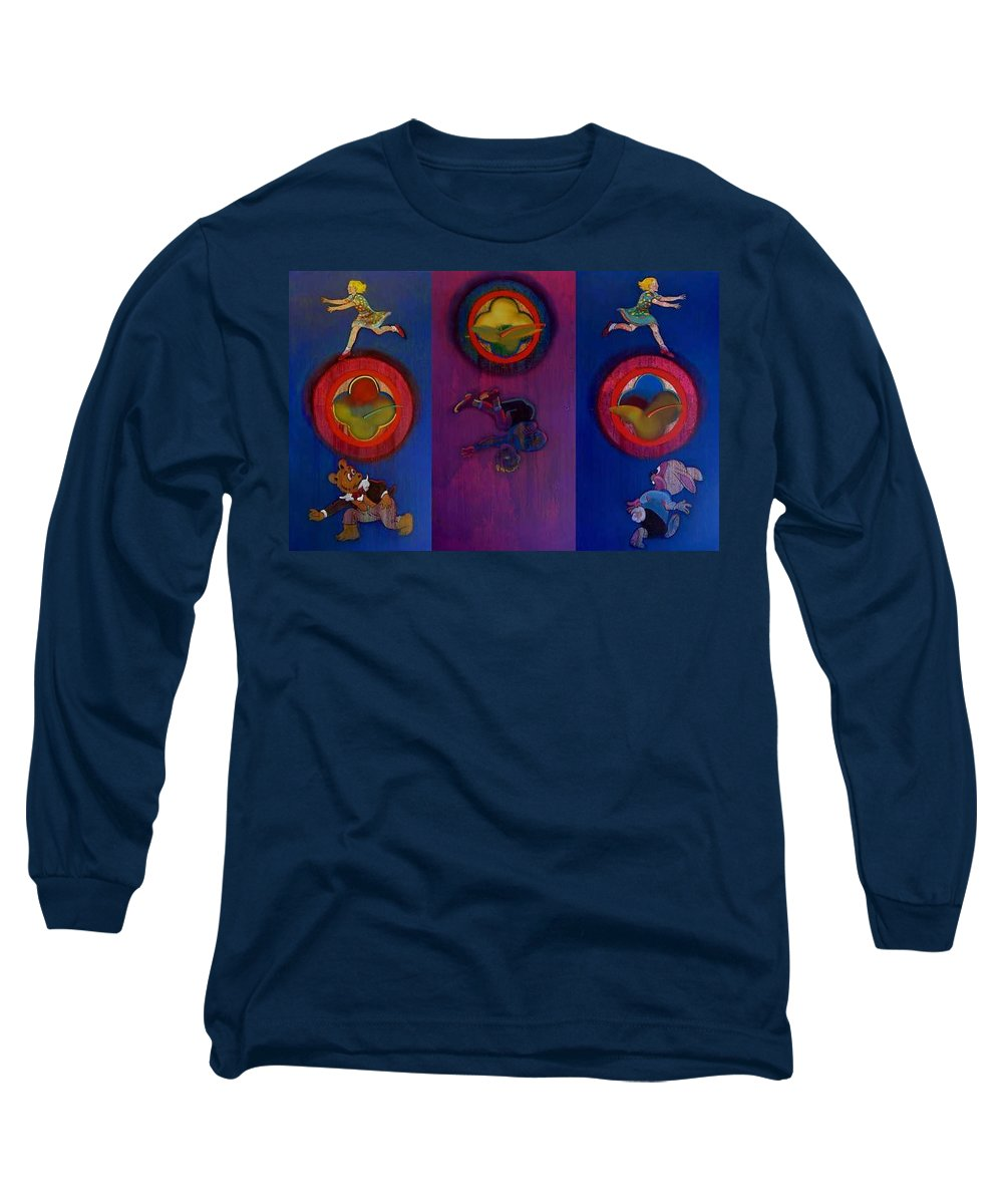 The Drums Of The Fruit Machine Stop At Random. Triptych Long Sleeve T-Shirt featuring the painting The Fruit Machine Stops II by Charles Stuart