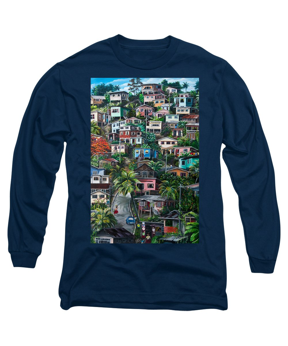 Landscape Painting Cityscape Painting Houses Painting Hill Painting Lavantille Port Of Spain Painting Trinidad And Tobago Painting Caribbean Painting Tropical Painting Caribbean Painting Original Painting Greeting Card Painting Long Sleeve T-Shirt featuring the painting The Hill   Trinidad by Karin Dawn Kelshall- Best