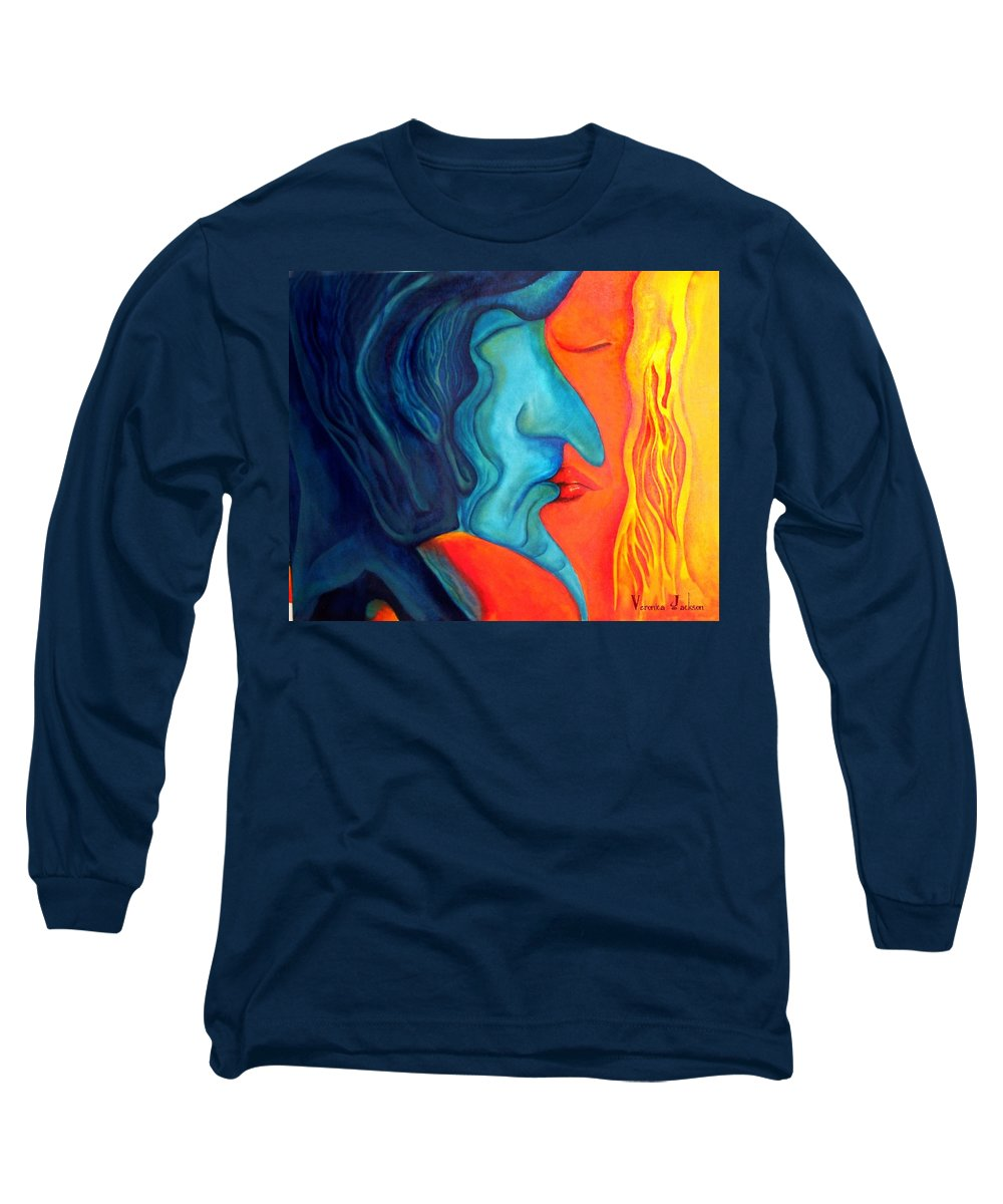 Kiss Love Passion Couple Intensity Blue Orange Fire Lust Sex Long Sleeve T-Shirt featuring the painting The Kiss by Veronica Jackson