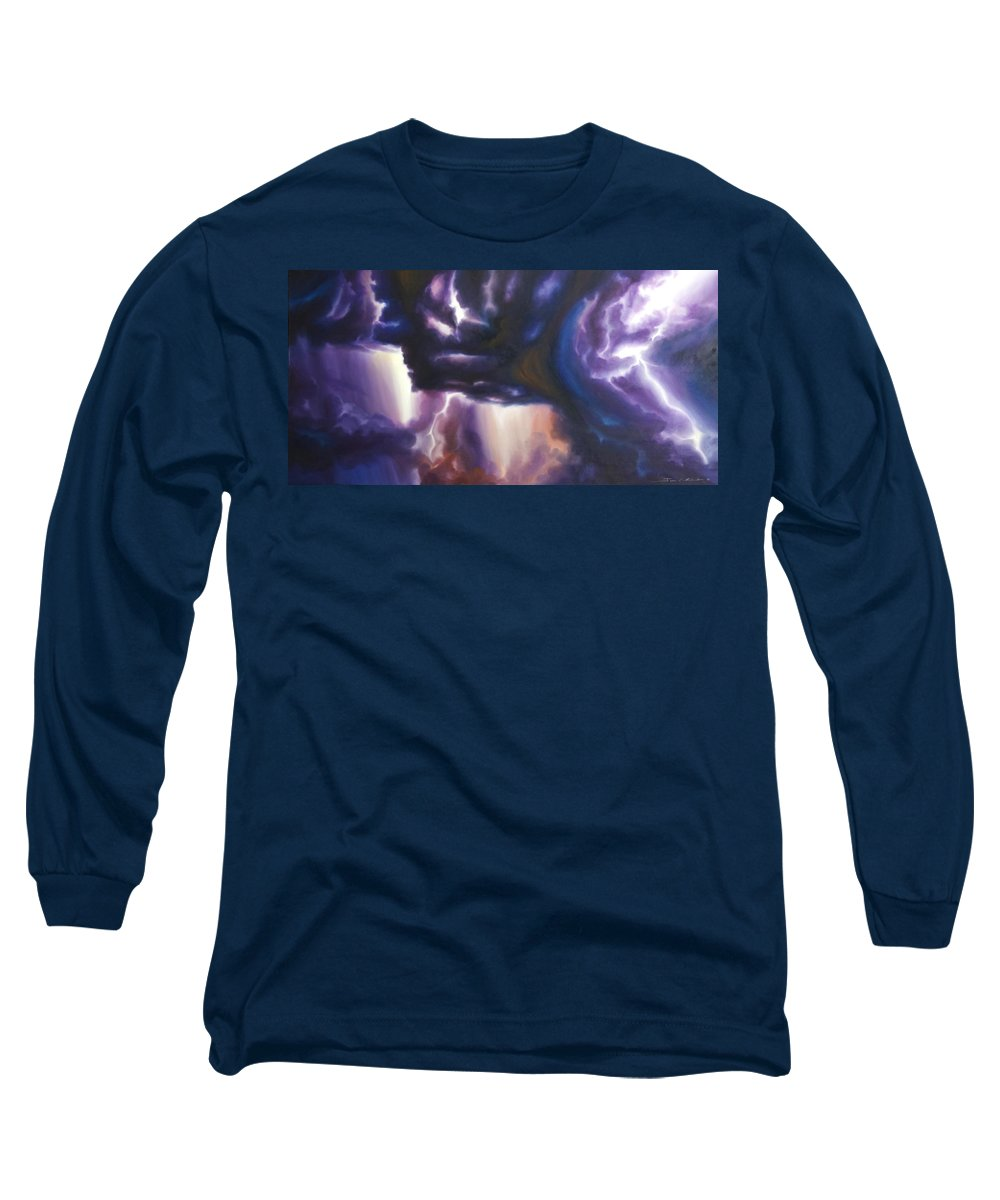 Tempest Long Sleeve T-Shirt featuring the painting The Lightning by James Christopher Hill