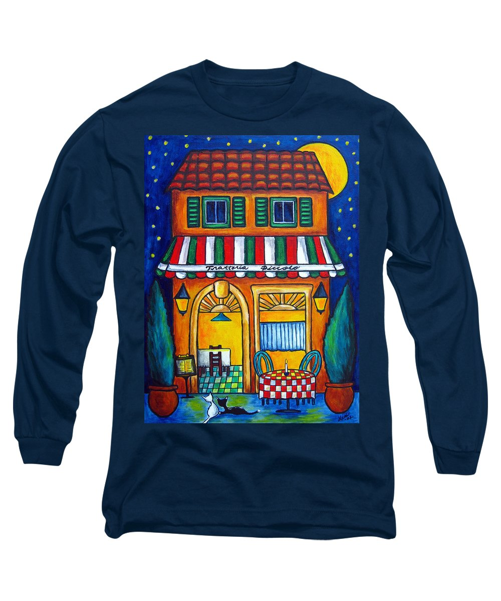 Blue Long Sleeve T-Shirt featuring the painting The Little Trattoria by Lisa Lorenz