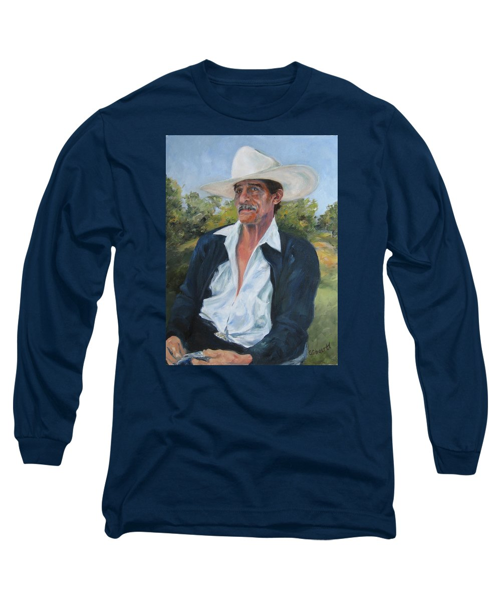 Portrait Long Sleeve T-Shirt featuring the painting The Man From The Valley by Connie Schaertl