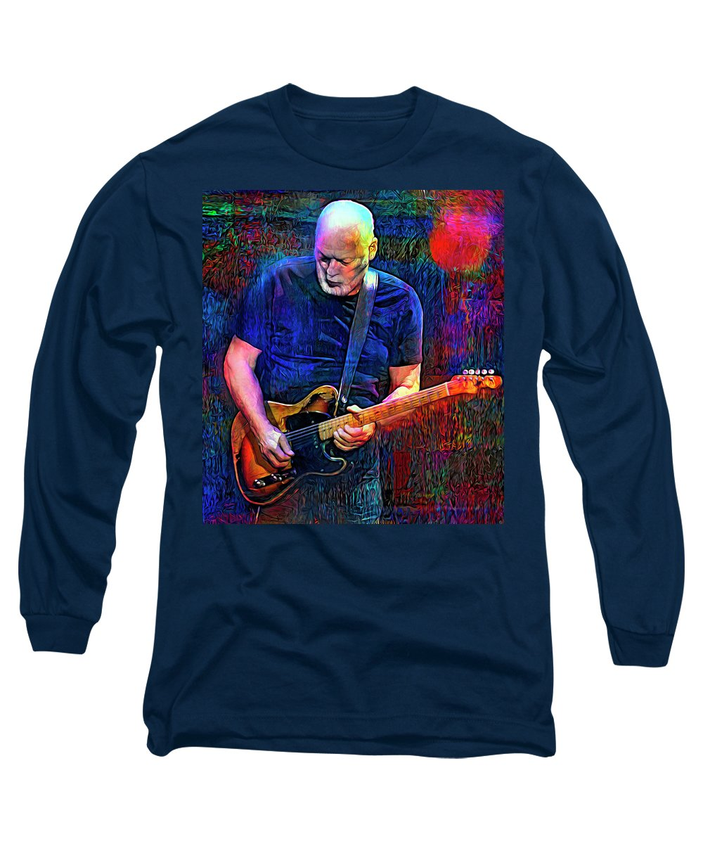 David Gilmour Long Sleeve T-Shirt featuring the mixed media The Sun Is The Same by Mal Bray