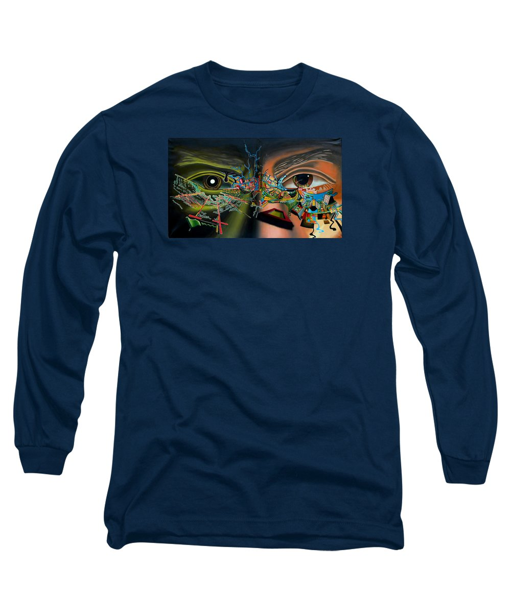 Surreal Long Sleeve T-Shirt featuring the painting The Surreal Bridge by Dave Martsolf