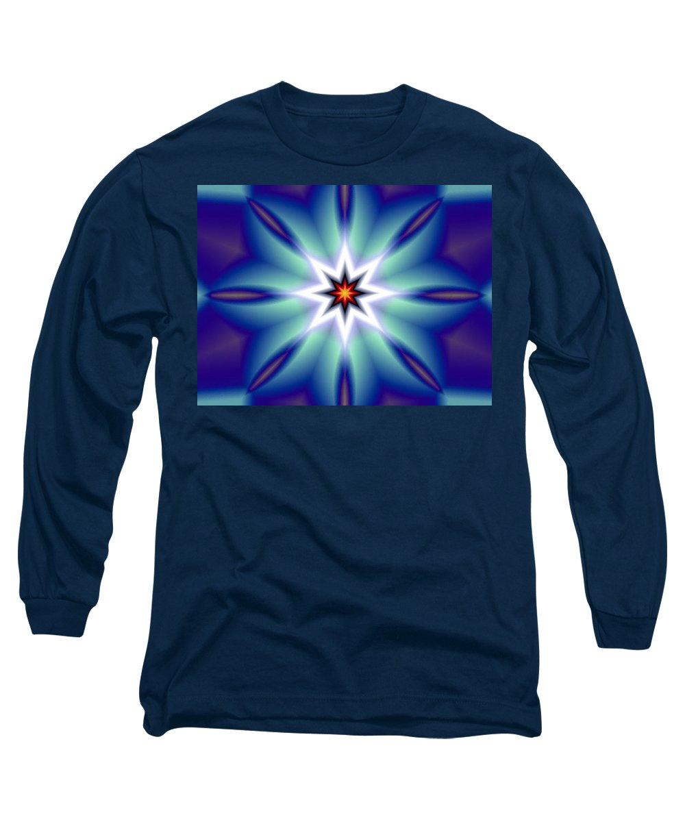Decorative Long Sleeve T-Shirt featuring the digital art The White Star by Oscar Basurto Carbonell