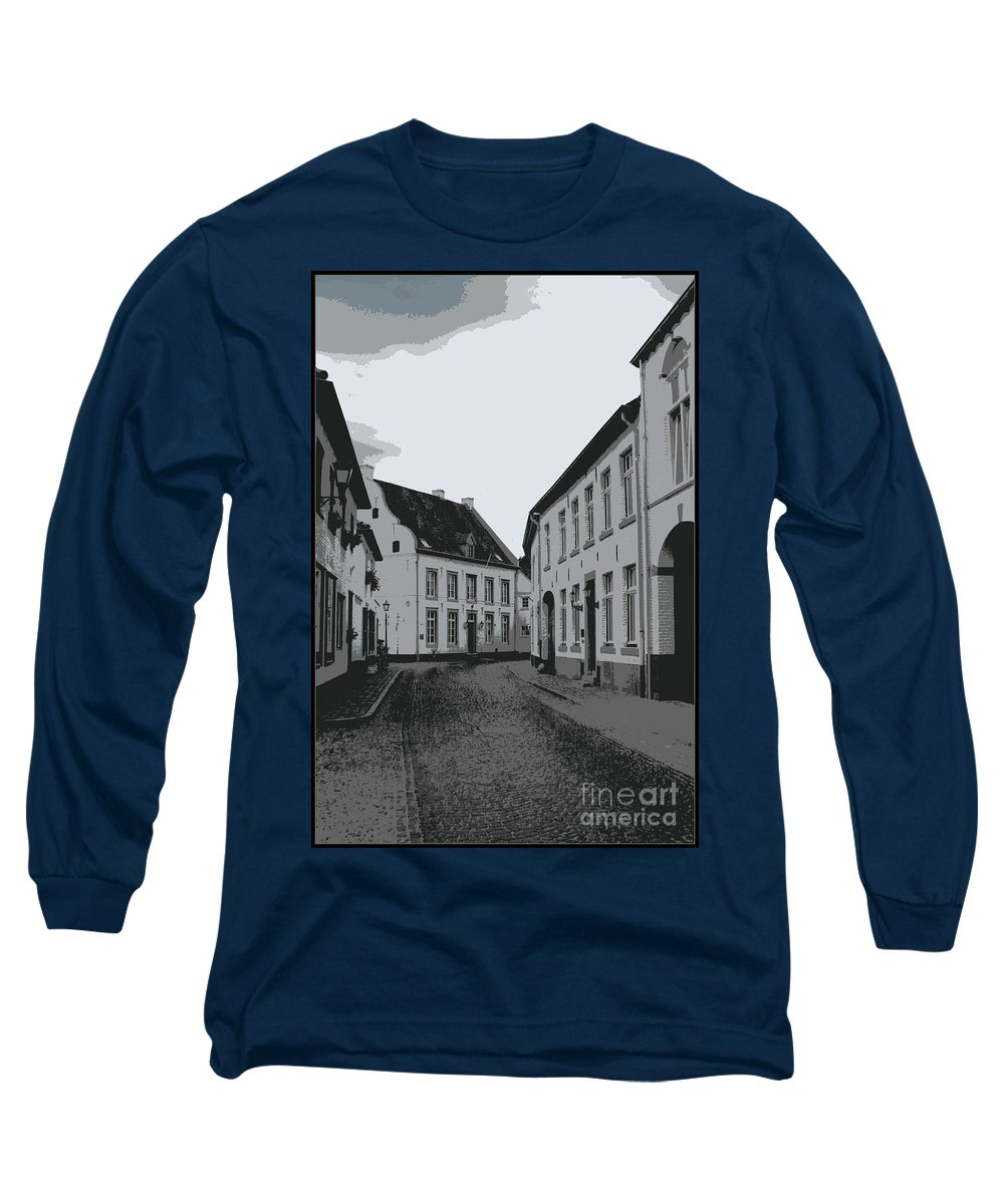 Gray And White Long Sleeve T-Shirt featuring the photograph The White Village - Digital by Carol Groenen